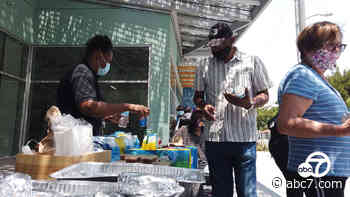 Inglewood Chamber hosts free food giveaways for seniors and homeless while also supporting business - KABC-TV