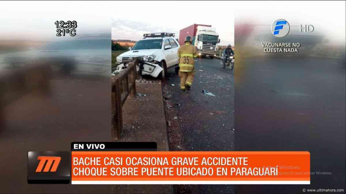 Un bache ocasiona accidente de tránsito en Paraguarí - ÚltimaHora.com