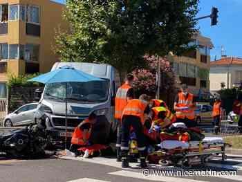 Gros choc frontal entre un scooter et un utilitaire à Vallauris - Nice-Matin