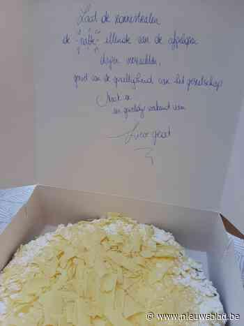 Bakkersvrouw Maartje uit Meeuwen schrijft hartverwarmende boodschappen in taartdoos