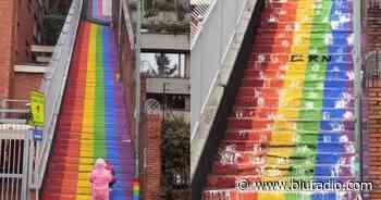 Claudia López rechazó vandalismo contra la bandera LGBTI pintada en escaleras en el norte de Bogotá - Blu Radio