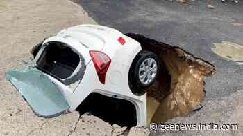 Car submerges in sinkhole as portion of road caves in after rains in Delhi