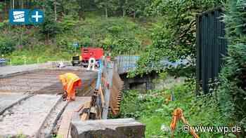 Baustelle in Olsberg: Aufwendige Arbeiten an der Ruhrbrücke - Westfalenpost