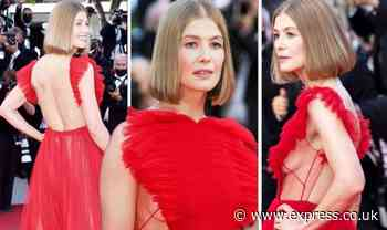 Rosamund Pike, 42, risks wardrobe malfunction as she flashes cleavage at Cannes 2021 - Express