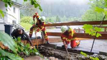 Unwetter in Miesbach: Starkregen in Bergen lässt die Pegel steigen - Scheitelpunkt überschritten - Merkur Online