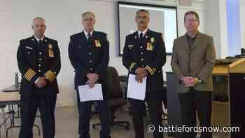 Two North Battleford firefighters honoured for long service, dedication to public safety - battlefordsNOW