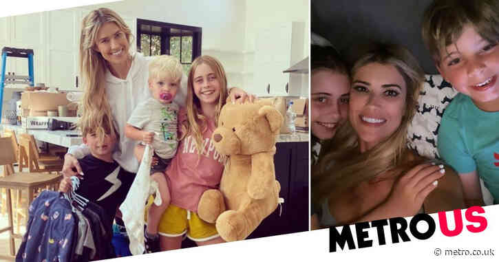 Flip or Flop star Christina Haack cuddles her children after moving out of family home she shared with ex Ant Anstead