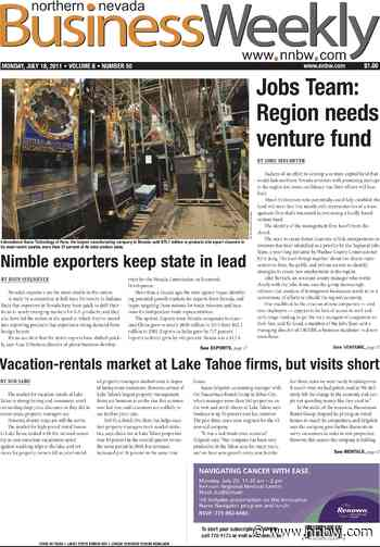 Past Pages, July 18, 2011: 'Jobs Team' says Northern Nevada needs venture fund - Northern Nevada Business Weekly