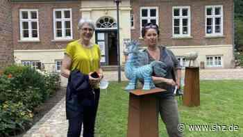 Landrätin besucht Barmstedt: Karin Weißenbacher erklärt Elfie Heesch die Schlossinsel-Kunst | shz.de - shz.de