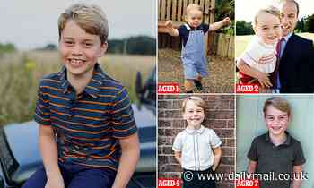 Prince George sports £10 John Lewis shirt as he poses on a Landrover Defender in tribute to Philip