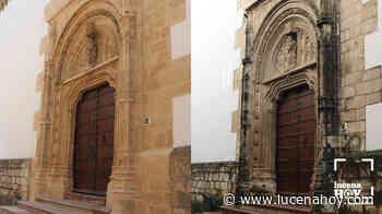 La Puerta de la Umbría de San Mateo recupera su esplendor y los trabajos se trasladan ahora a la portada principal del templo, la más deteriorada - Lucena Hoy