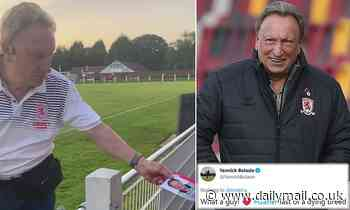 Middlesbrough boss Neil Warnock hands one lucky young fan a signed picture of himself