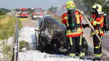 Auto brennt auf der A8 bei Jettingen-Scheppach aus - Augsburger Allgemeine