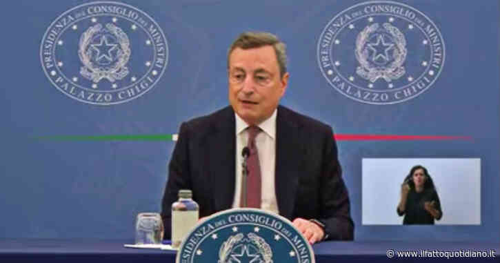 """Draghi: """"Consiglio a tutti di vaccinarsi e di farlo subito. Green pass? Non è arbitrio ma condizione per tenere aperte le attività"""""""