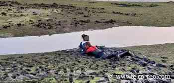 Los Bomberos de Laredo rescatan a una joven atrapada en el fango de la ría de la playa del Regatón - El Correo