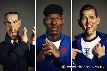 Gareth Southgate, Harry Kane and Marcus Rashford getting Spitting Image puppets