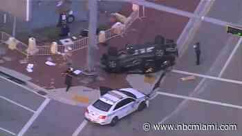 Miami Police Car Involved in Morning Rollover Crash
