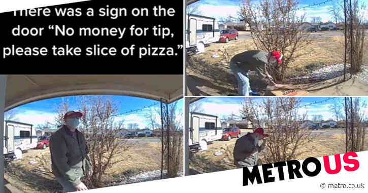 Moment delivery driver takes pizza slice from box as customer claims no money for tip