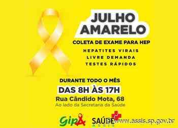 'Julho Amarelo' no GIPA segue com a intensificação de coleta de exames para hepatites virais - Prefeitura de Assis