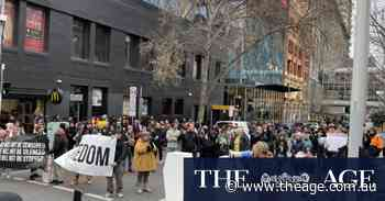 Anti-lockdown protesters descend on downtown Melbourne
