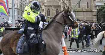 Anti-lockdown protesters gather in Melbourne CBD - 9News