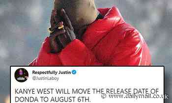 Kanye West delays the release of his forthcoming album Donda until August