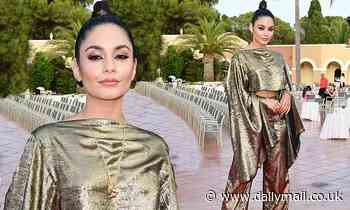 Vanessa Hudgens models a metallic crop top and matching flares at the Filming Italy Festival