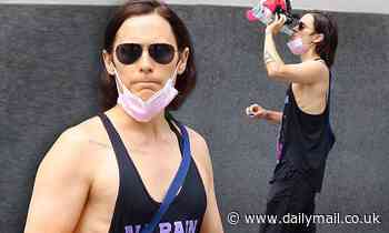 Jared Leto looks fit in a black tank top after working up a sweat at a gym in Manhattan