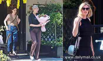 Downton Abbey stars Michelle Dockery and Laura Carmichael enjoy co-star's 60th birthday in Mayfair