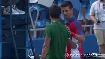 Olympia 2021: Hugo Delbonis fragt Novak Djokovic nach Niederlage am Netz nach seinem T-Shirt - Eurosport DE