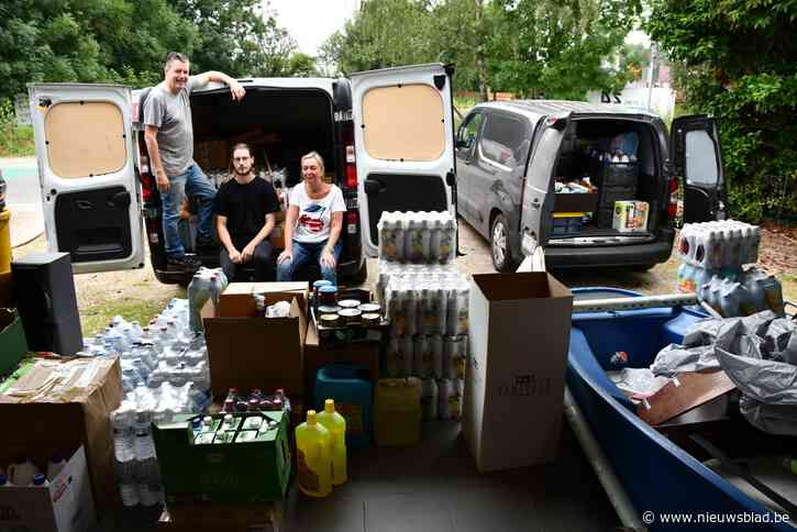 Gunter en Kenneth brengen levensmiddelen naar Pepinster en Angleuroverstromingsgebieden