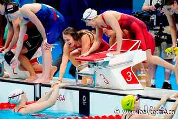 For the second straight Games, women relay swimmers get Canada's first medal