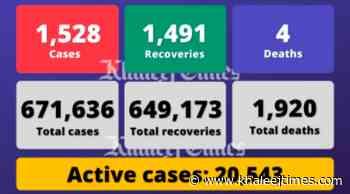 Coronavirus: UAE reports 1,528 Covid-19 cases, 1,491 recoveries, 4 deaths - Khaleej Times
