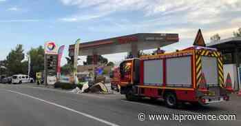 Cassis : sortie de route spectaculaire à la station service Total - La Provence