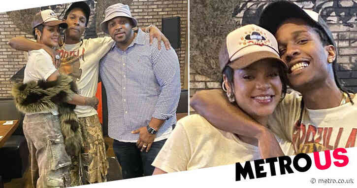 Happy couple Rihanna and A$AP Rocky beam for photos as they visit Miami mac and cheese joint