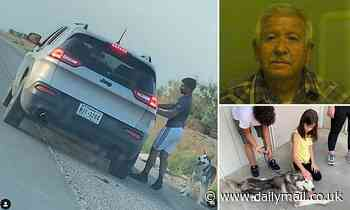 Texas man is arrested for animal cruelty after video 'showed him abandoning dog on side of the road'