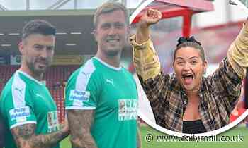 Jacqueline Jossa cheers Dan Osborne and Jake Quickenden at charity football match at Woking FC