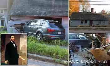 Driver slams car into ancestral home of Abraham Lincoln and claims she swerved to avoid a squirrel - Daily Mail