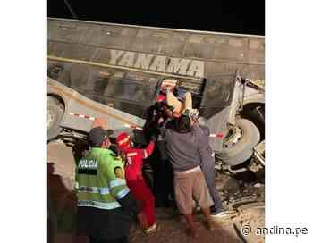 Arequipa: un muerto y 23 heridos deja vuelco de ómnibus en carretera a Camaná - Agencia Andina