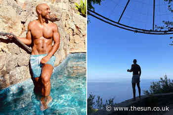 Good Morning Britain's Alex Beresford shows off rippling muscles as he poses in swimming trunks on Majorca... - The Sun