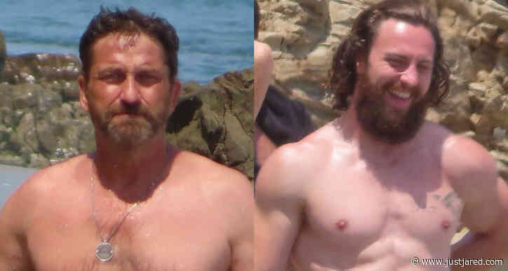 Gerard Butler & Aaron Taylor-Johnson Bare Shirtless Bodies at the Beach!