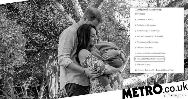 Harry and Meghan's daughter listed in line of succession seven weeks after birth