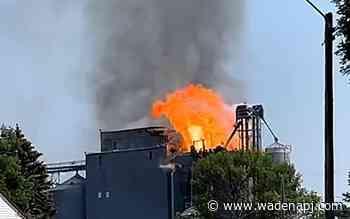 Firefighters battling large grain elevator fire in western Minnesota - Wadena Pioneer Journal