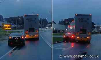 Lavington, NSW driver learns why you shouldn't overtake a truck, after being cut off at a roundabout