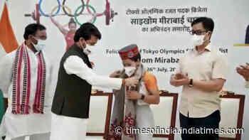 Tokyo Olympics: Mirabai Chanu, coach Vijay Sharma felicitated