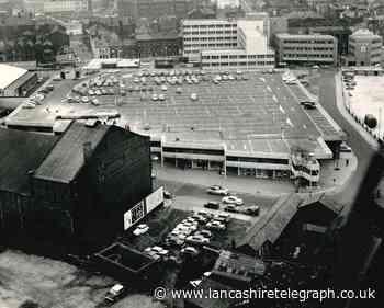 View from Thwaites Tower over Blackburn market car park