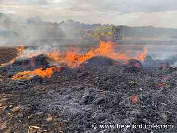 Fire ravages bales in Herefordshire as floods hit Bromyard