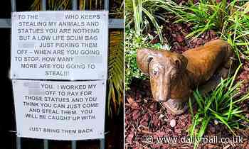 Thief who pinched prized animal statues from front yard issued a note demanding they be brought back
