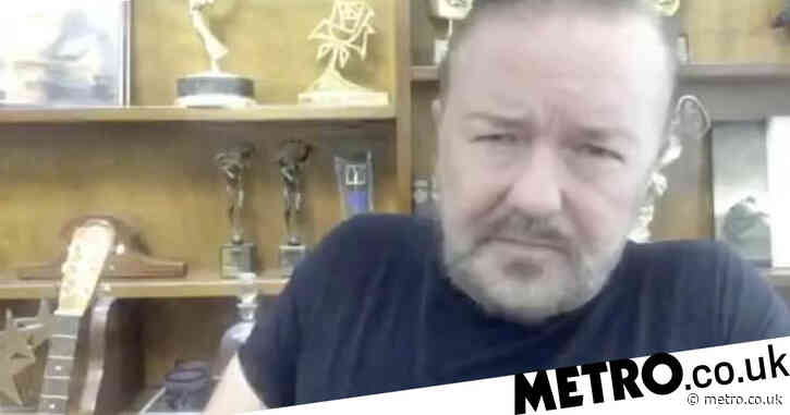 Ricky Gervais left 'lying on the floor like a sad, fat turtle' after injuring his back while tying his shoe