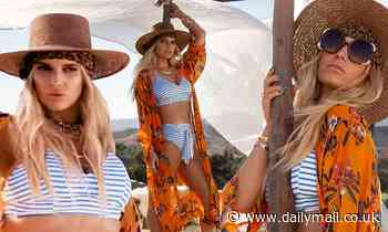 Jessica Simpson looks fit as she models a bikini for her summer collection.